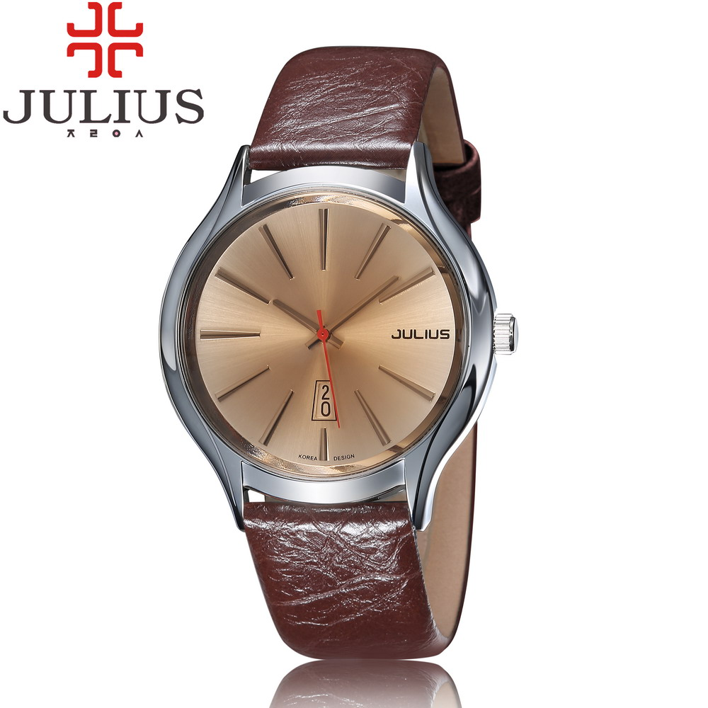 Top Julius Man Homme Náramkové hodinky Velké módní hodinky Náramek Šperky Retro Kůže Auto Datum Školní chlapec Narozeninový dárek Den otce