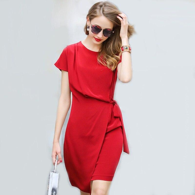 Vestido de seda 100% de alta calidad para mujer diseño asimétrico fajas sólidas tela ligera vestido Casual nuevo estilo de moda 2017-in Vestidos from Ropa de mujer    1