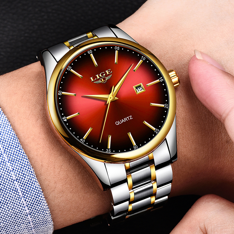 Image 4 - 2019 LIGE Simple Fashion Red Wristwatch Mens Watches Top Brand Luxury Waterproof Quartz Watch For Men Sport Clock Montre Homme-in Quartz Watches from Watches