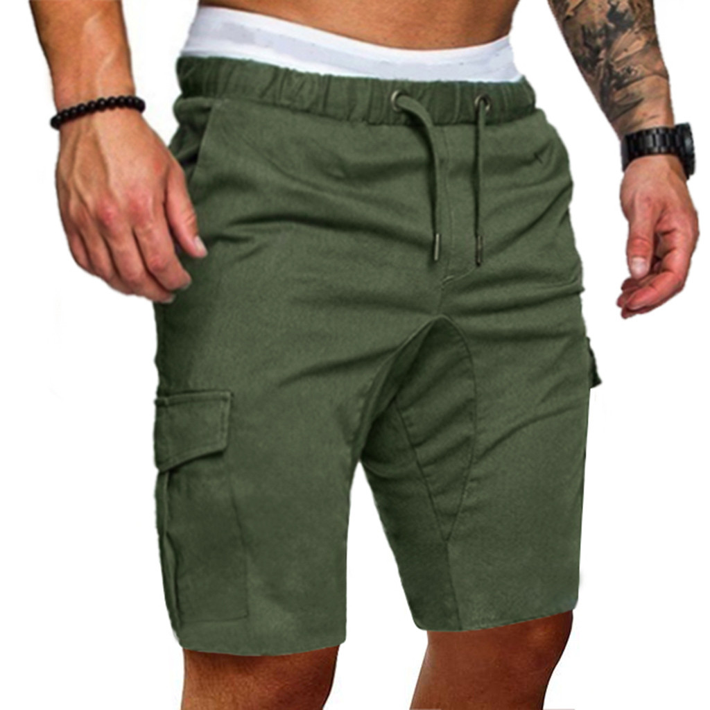 CYSINCOS Casual Pants Men Shorts Work Plus-Size Cotton Trousers Elastic Solid-Pockets