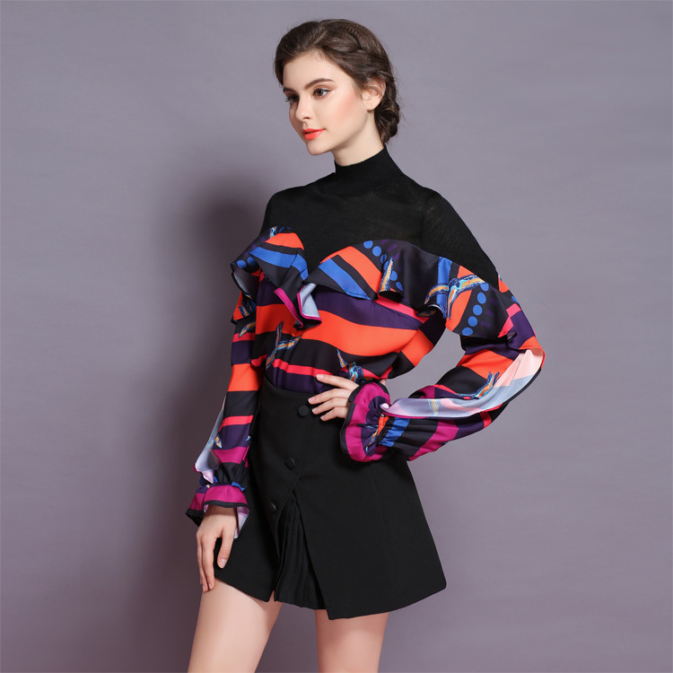 XIANGSHI Women High Quality New Fashion Woolen Knitted Stitching Floral Printed Sweater