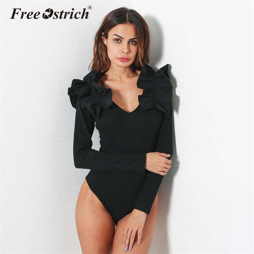 FREE OSTRICH 2018 Bodysuit Women Ruffles Long Sleeve Womens Sexy Bodysuit Rompers Body Macacao Feminino Oct11