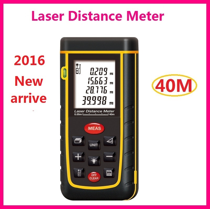 2016 newest 40m Laser Distance Meter 131ft Lazer Rangefinder Range Finder Tape Measurer Tool IP54 With LCD Backlight LL50
