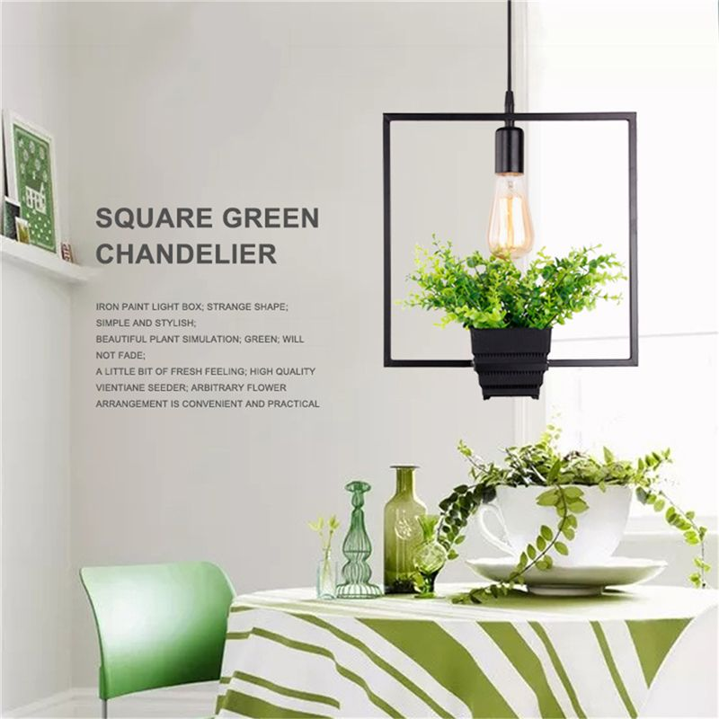 Black Square Green Plant Hanging Lamp Retro Industrial Wind Creative Personality Chandelier Clothing Shop Cafe Restaurant Ligh