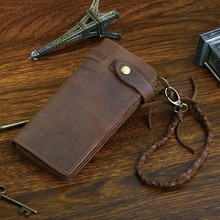 Designer Chain Leather wallet, long style Crazy Horse Natural Cowhide Vintage Waxed Leather Purse,with handmade woven rope