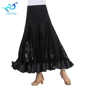 Image 2 - Hohe Qualität Flamenco Lange Rock Ballsaal Tango Modern Dance Rock Große Schaukel Party Kleid Leistung Kostüm Spitze