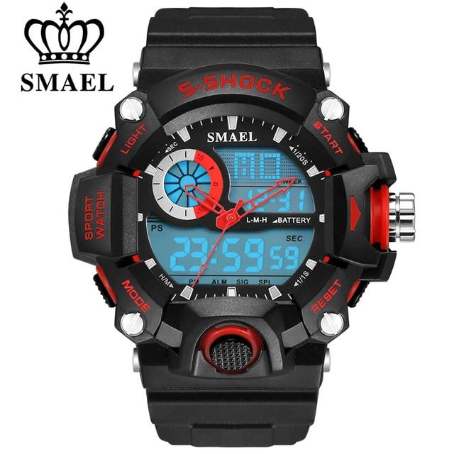 SMAEL Men Sports Watches Waterproof Fashion Casual Quartz Watch Digital Man Analog Military Multifunctional Wristwatches Male