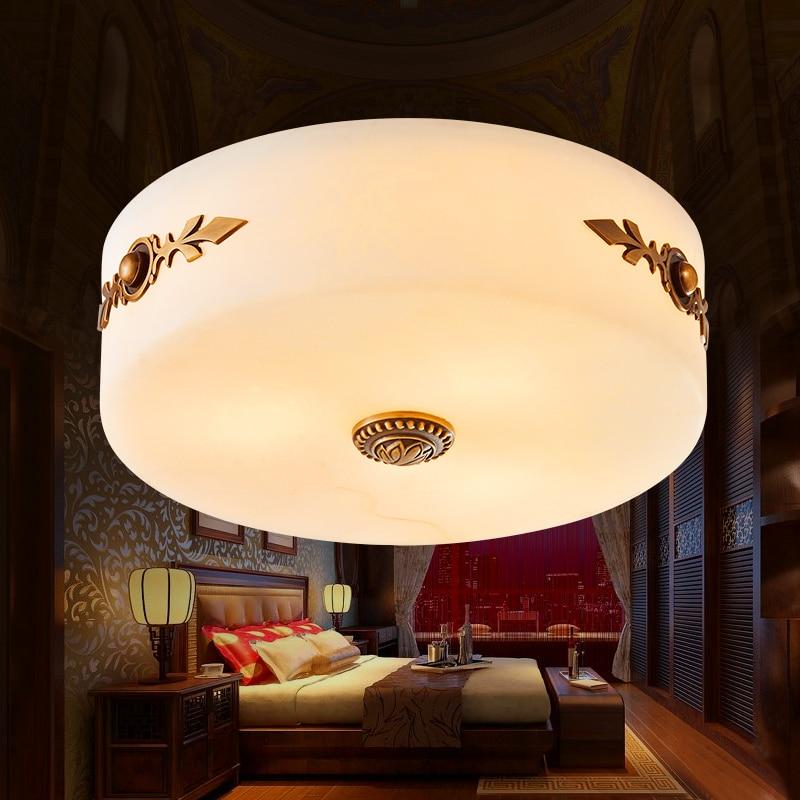Imitation marbre lampes pleine cuivre chambre plafonnier moderne lampe ronde chambre de européenne américaine rétro plafonniers lo81217