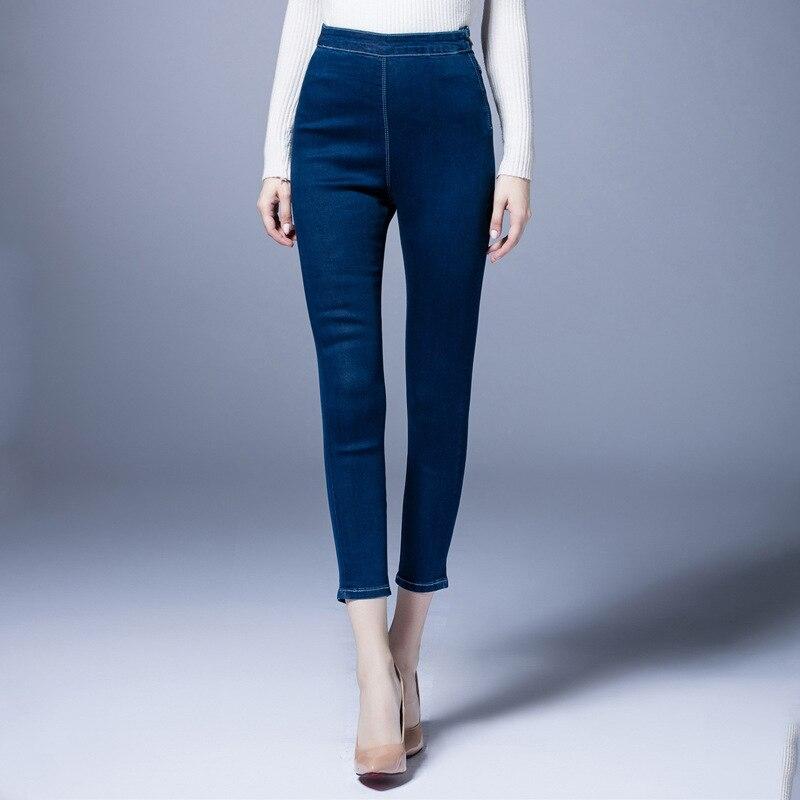 ФОТО Women Jeans Plus Size Denim Pants 2017 Spring Elastic Waist High Waist 9-10 Trousers Bottom Pencil Pants High Quality