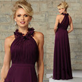 robe demoiselle d'honneur Purple Bridesmaid Dresses for Beach Wedding 2016 Flowers Long Wedding bridesmaid dress Free Shipping