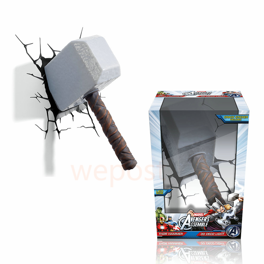 Avengers alliance thor hammer shape 3d movie anime figure night avengers alliance thor hammer shape 3d movie anime figure night light creative led wall lamp childrens bedroom bedside lamp in led night lights from lights mozeypictures