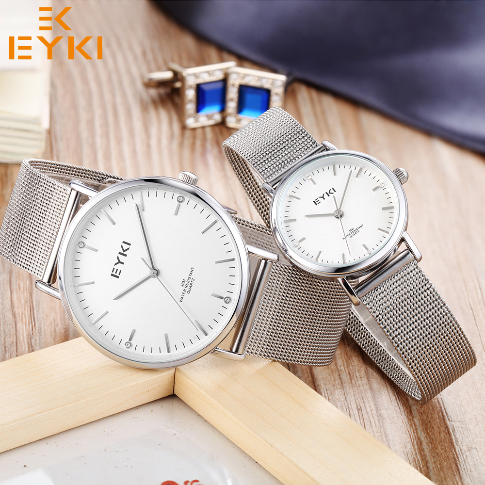 EYKI Top Brand Watches Fashion Lovers' Watch For Men Women Quartz Movement Waterproof Steel Band Ladies Male Relogio Gift Box new eyki brand couple watches tables fashion formal stainless steel strap waterproof quartz watch ladies watch men s watches