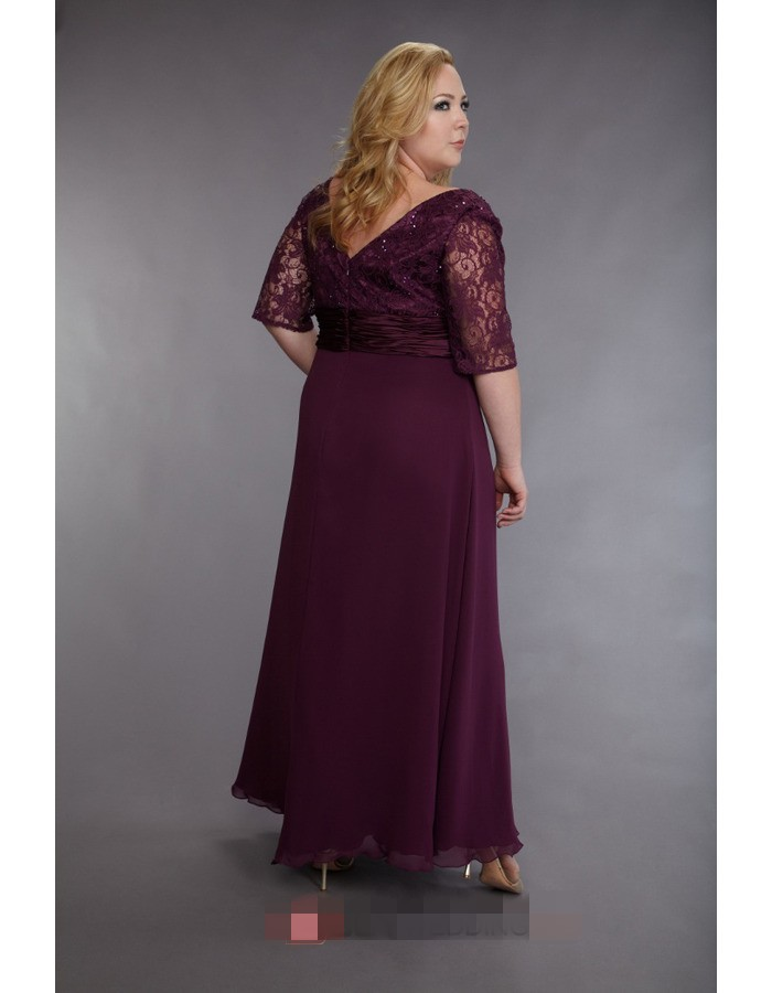 3be7845baa6 Cecelle Plus Size Navy Blue Long Mother Of The Bride Dresses Half Sleeves  Lace Chiffon Beaded Wedding Guest Gown Full Figure-in Mother of the Bride  Dresses ...