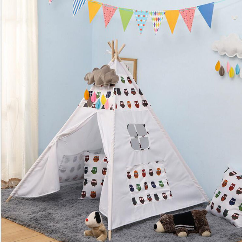 Bébé jouer tipi enfants jouets tente pliable indien en bois jeu maison Wigwams pour enfants lecture coin décor photographie accessoires - 3