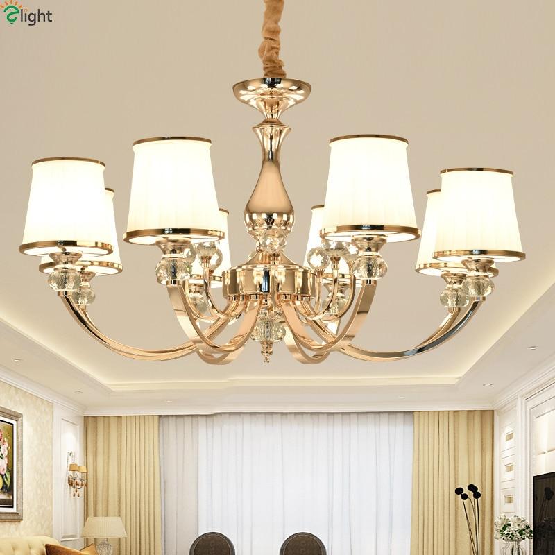 Modern Lustre Crystal Living Room Led Chandeliers Gold