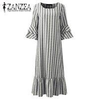 2018 ZANZEA Women Striped Autumn 3/4 Sleeve Ruffles Hem Loose Cotton Party Sweet Ladies Pink Vestido Long Shirt Dress Plus Size