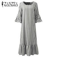 2018 ZANZEA Women Striped Autumn 3 4 Sleeve Ruffles Hem Loose Cotton Party Sweet Ladies Pink