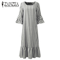 2018 ZANZEA Women Striped Autumn 3 4 Sleeve Ruffles Hem Loose Cotton Party Sweet Ladies Pink