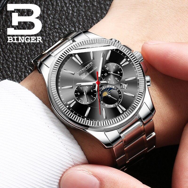 BINGER montre automatique hommes montres mécaniques 30 M étanche montres militaires saphir cristal hommes horloge erkek kol saati