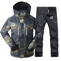 GSOU SNOW Brand Для мужчин лыжный костюм Лыжный спорт куртка брюки ветрозащитные Водонепроницаемый Термальность уличная спортивная одежда зимня