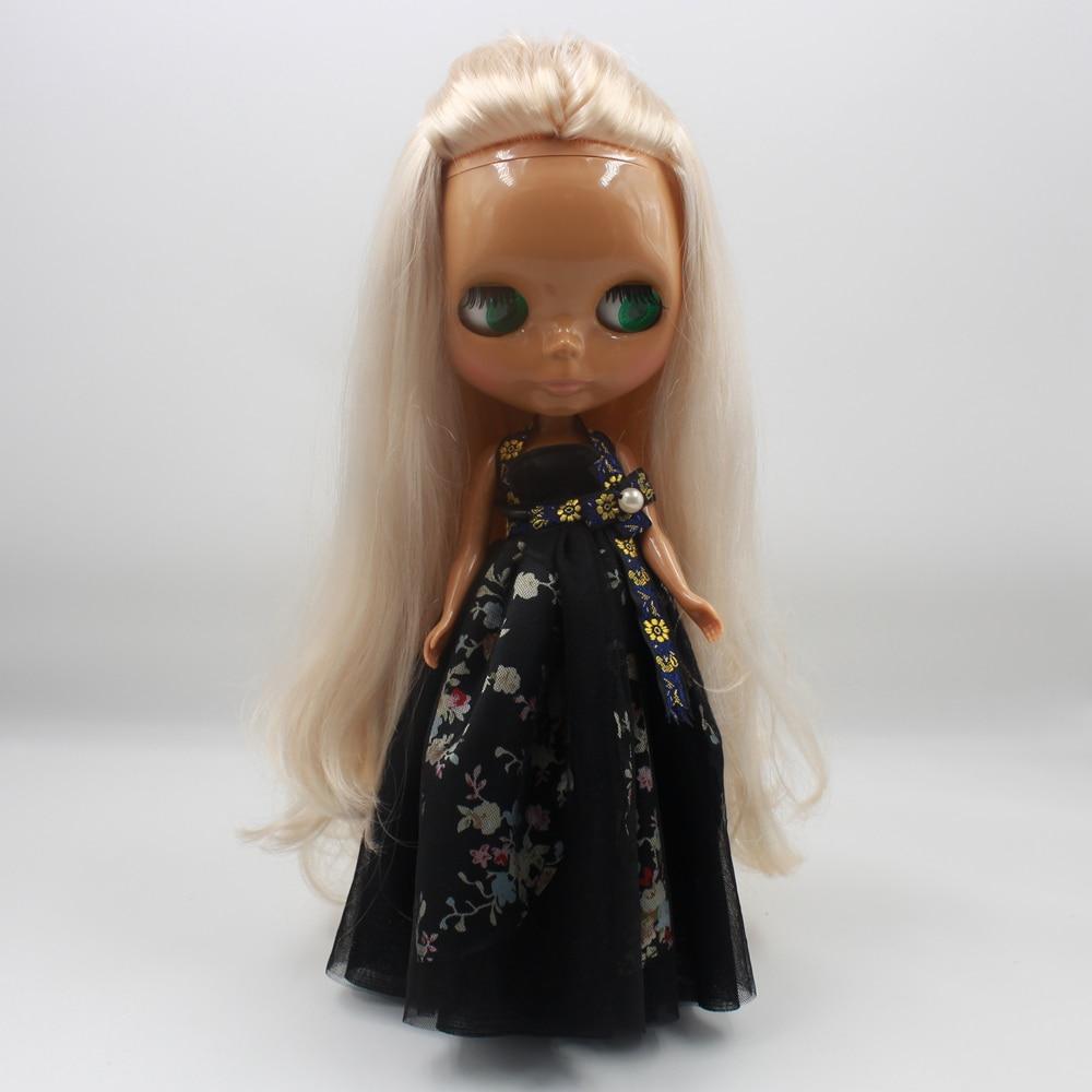 купить Free shipping blyth doll icy licca 280BL339 Golden white hair withou bangs/fringes dark skin 1/6 30cm онлайн