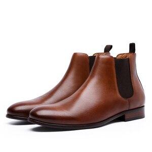 Image 5 - 2020 Echt Leer Mannen Laarzen Herfst Winter Enkellaars Mode Schoenen Slip Op Schoenen Mannen Business Casual Hoge Top Mannen schoenen