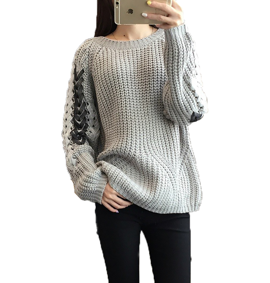 ⃝Líneas gruesas suéter de lana de cuello redondo y largas secciones ...