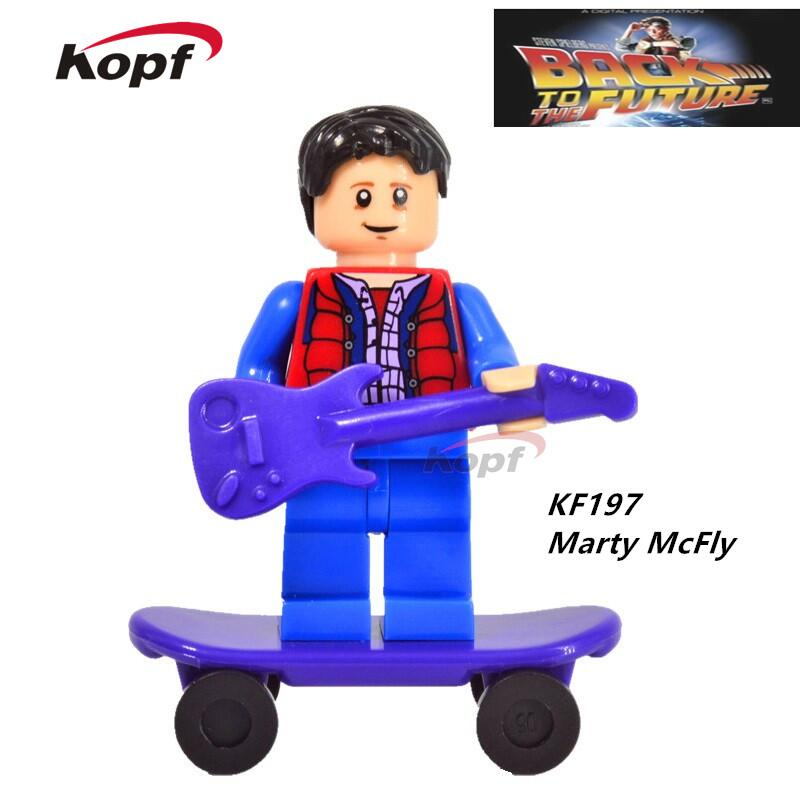 Single Sale Super Heroes Doc Brown and Marty McFly With Skateboard Back To The Future Building Blocks Children Gift Toys KF197 building blocks super heroes back to the future doc brown and marty mcfly with skateboard wolverine toys for children gift kf197