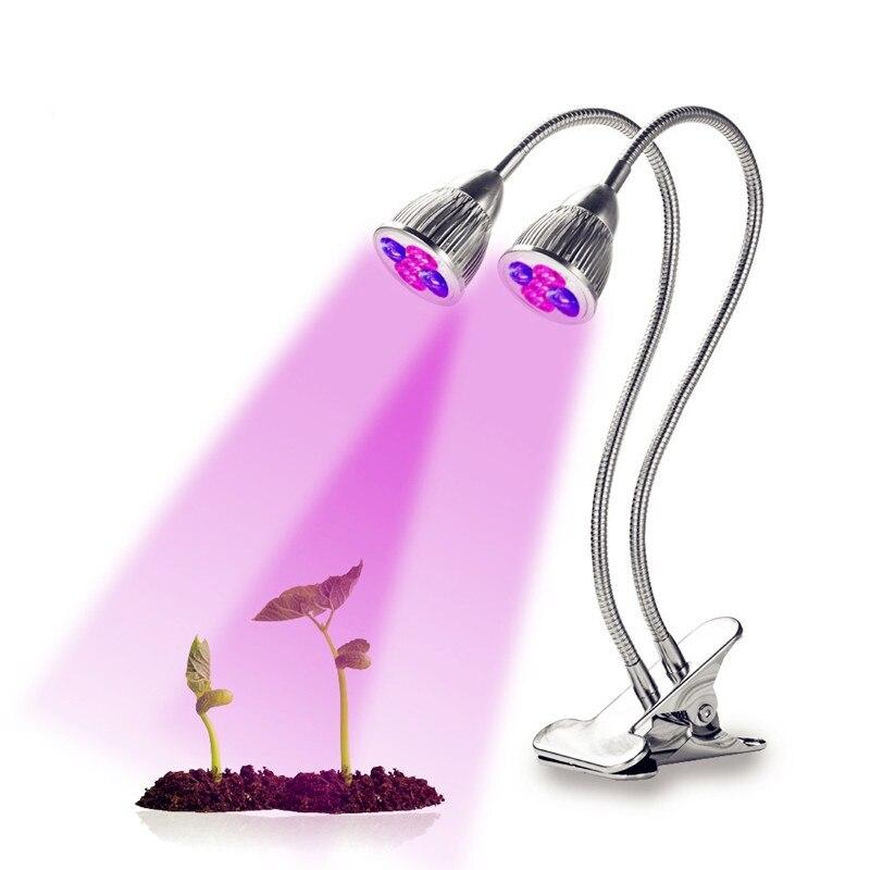 5W Mini LED Grow Light Desk Clip Lamp Flexible Full Spectrum Indoor Lights