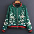 Autumn winter women men high quality large plus size Green Satin Embroidered Baseball Jacket  short outerwear JK-85