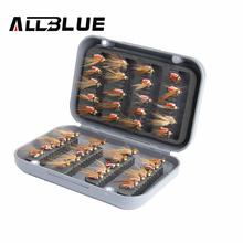 ALLBLUE 40pcs/lot Mosquito Fly Fishing Lure Set Artificial Insect Bait Trout Fly Fishing Hooks Tackle With Plastic Box
