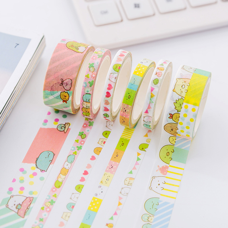 все цены на 3 pcs/pack Cute Cartoon Sumikko Gurashi Decorative Washi Tape DIY Scrapbooking Masking Tape School Office Supply онлайн