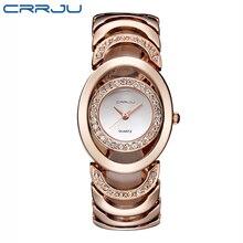 CRRJU Marque De Luxe En Cristal D'or Montres Femmes Dames Montres À Quartz Bracelet En Acier Montre Relogio Feminino Relojes Mujer
