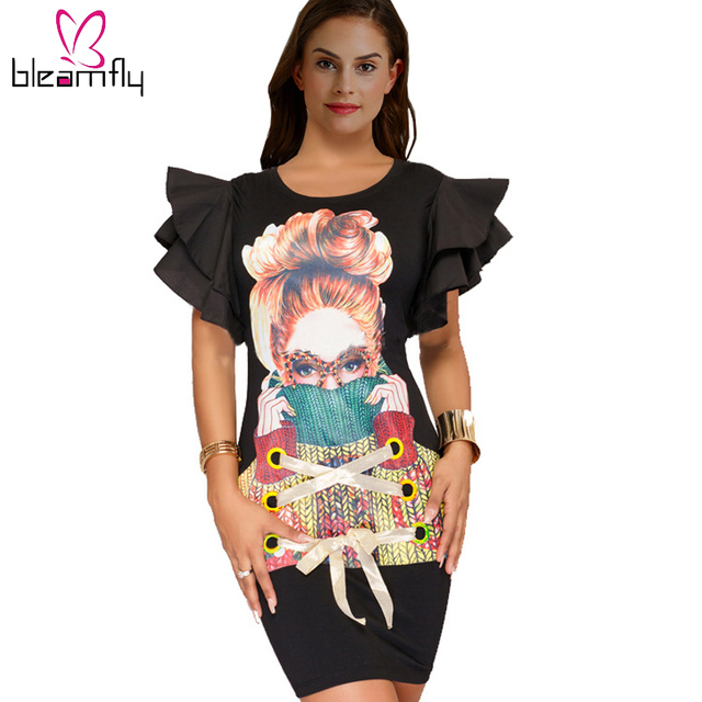 1f8b1618f885 Women-Dresses-Ruffles-Sleeve -Slim-Sexy-Short-Bodycon-Black-Red-Party-Night-Club-Dress -Robe-Cartoon.jpg_640x640.jpg