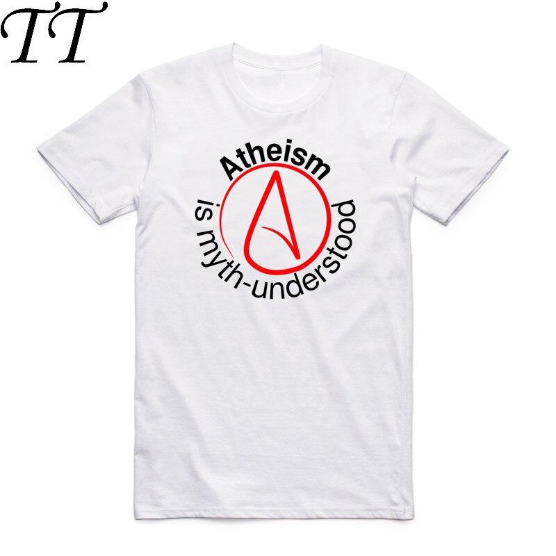 2017 Summer Men Women Print Atheist Symbol Design T Shirt Short