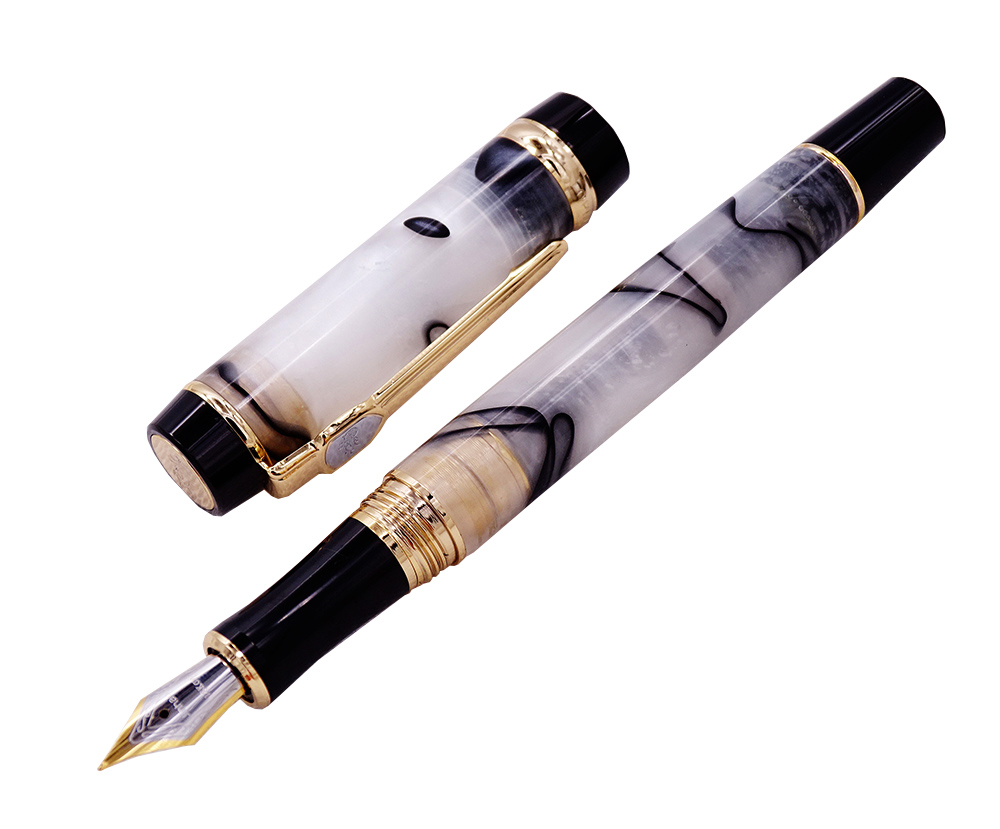 Jinhao Century Series Marble Celluloid Fountain Pen Beautiful White/Yellow Black Line Pattern Ideal For Graduate/Business/Office