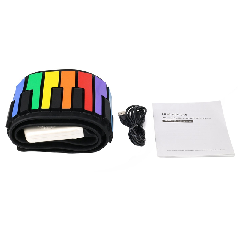 Color 49 Standard Keys Flexible Kids Piano Keyboard Flexible Roll Up Keyboard Piano Built-In Lithium Battery Completely Portab