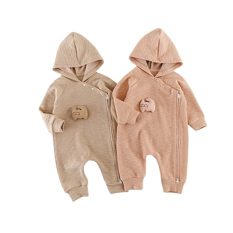 Newborn Infant Baby Boy Girl Hooded Romper Jumpsuit Long Sleeve Baby Rompers Warm Solid Color Qualilty Fabric Infantil Outfits 3pcs set newborn infant baby boy girl clothes 2017 summer short sleeve leopard floral romper bodysuit headband shoes outfits