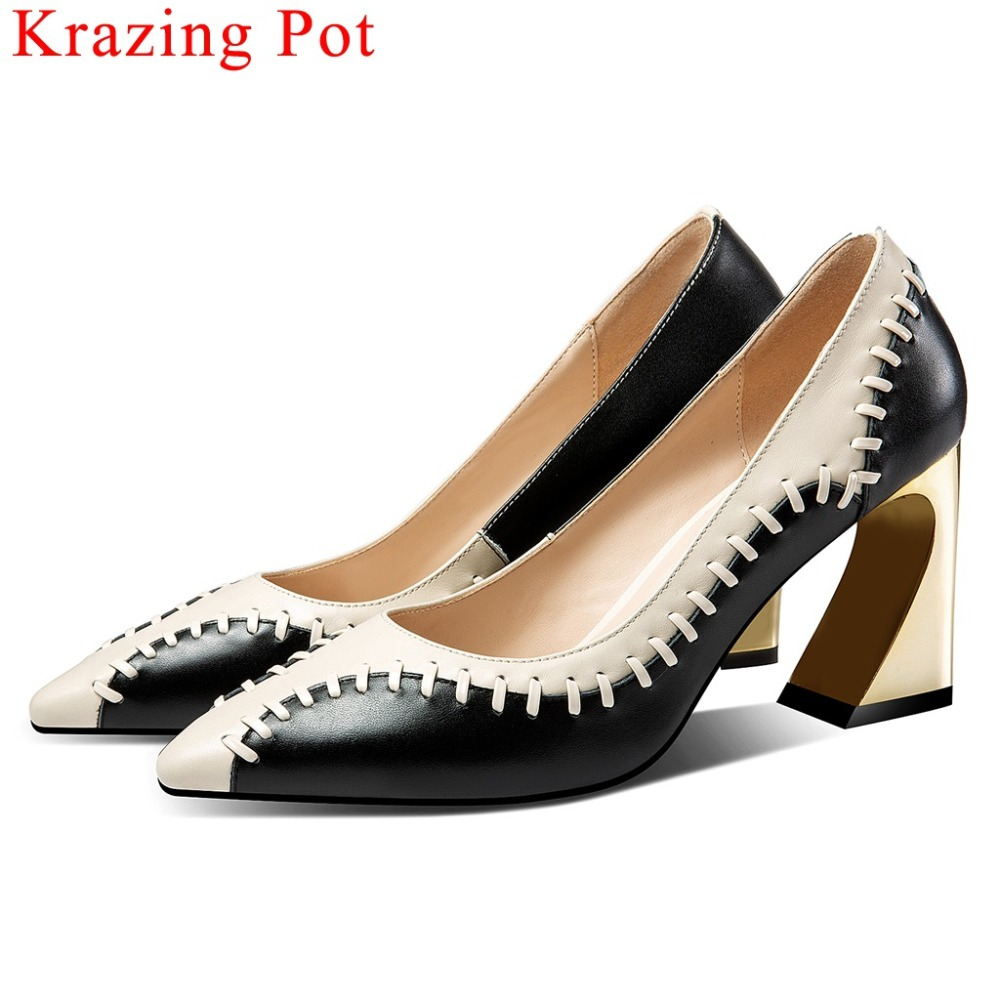 Krazing Pot British style strange style high heels pointed toe mixed colors cow leather sewing big