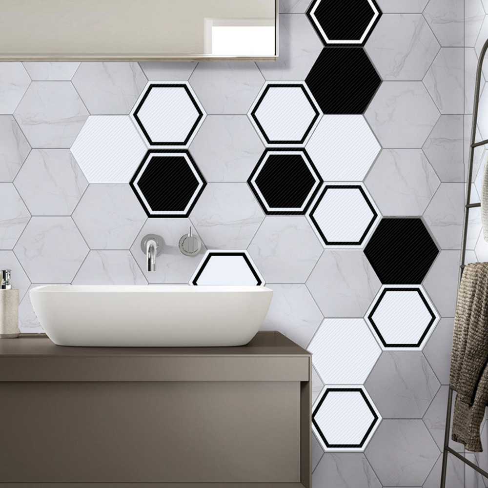 10pcs Floor Stickers Black and White Simple Hexagon European Style ...