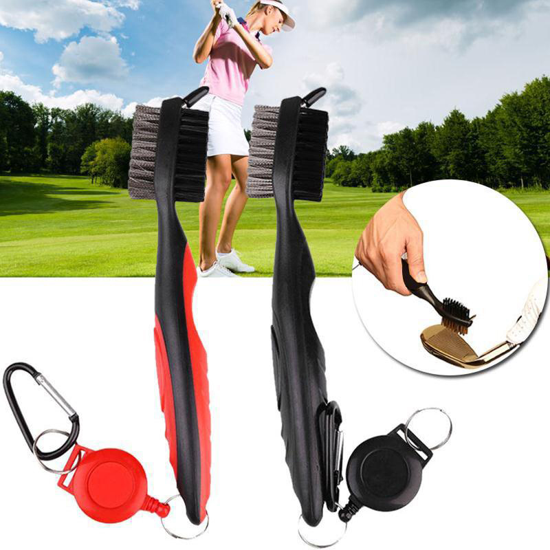 Newly Golf Club Brush Cleaner Ball Cleaning Clip Groove Double Sided With Spike Kit Accessories BFE88