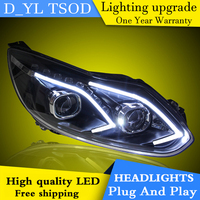Car Styling for Ford Focus Headlights 2012 2014 LED Headlight for Focus Head Lamp LED Daytime Running Light LED DRL Bi Xenon HID