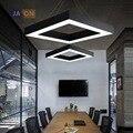 Светодиодные железные в стиле постмодерн акриловая черная Белая Квадратная люстра освещение Lamparas De Techo подвесной светильник Lampen для офиса