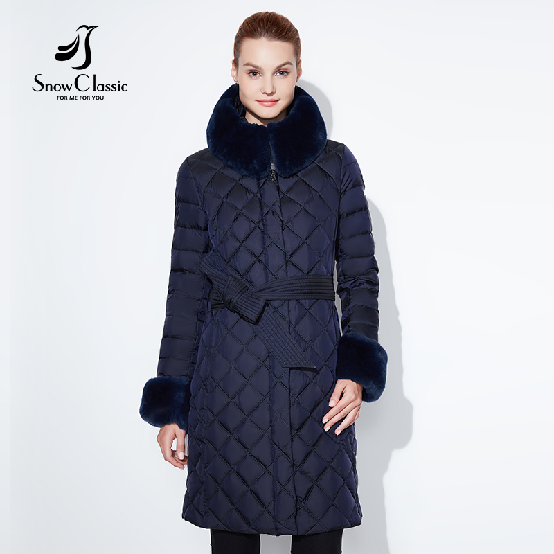 Neige Classique 2018 veste femmes camperas mujer abrigo invierno manteau femmes parc plus la taille col De Fourrure 4xl hiver section Épaisse