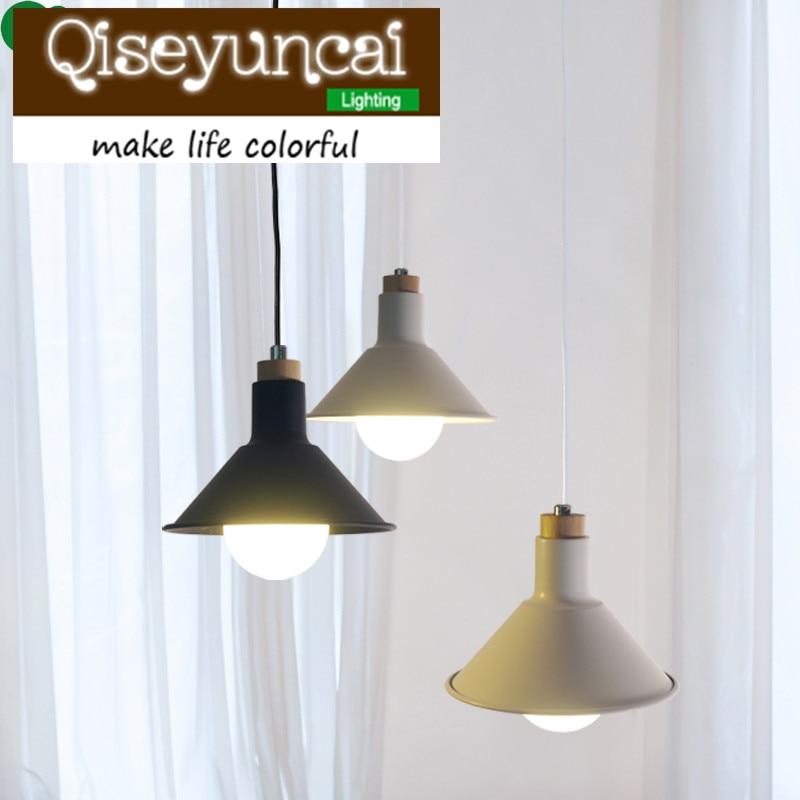Qiseyuncai nordic stylu jednoduché dřevěné ložnice kuchyně restaurace železné lustry bar uličky dekorativní lampa doprava zdarma