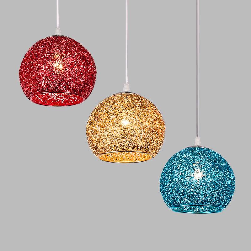 Multicolor Aluminum Round Ball Pendant Light Cafe Supermarket Restaurant 1 / 3 heads D18cm Home lighting pendant lamps ZAMulticolor Aluminum Round Ball Pendant Light Cafe Supermarket Restaurant 1 / 3 heads D18cm Home lighting pendant lamps ZA