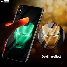 Marvel iron Man Venom Batman Deadpool Luminous Glass Case For iPhone 6 6s 7 8 Plus 11 Pro Xs Max Xr X Avengers Cases Cover Coque