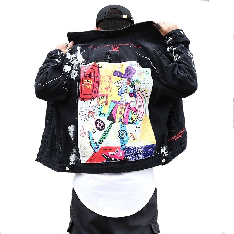 Automne haute Streetwear Hip Hop Rock imprimer Denim veste hommes Vintage trou Patch conceptions loisirs broderie Cowboy manteau survêtement