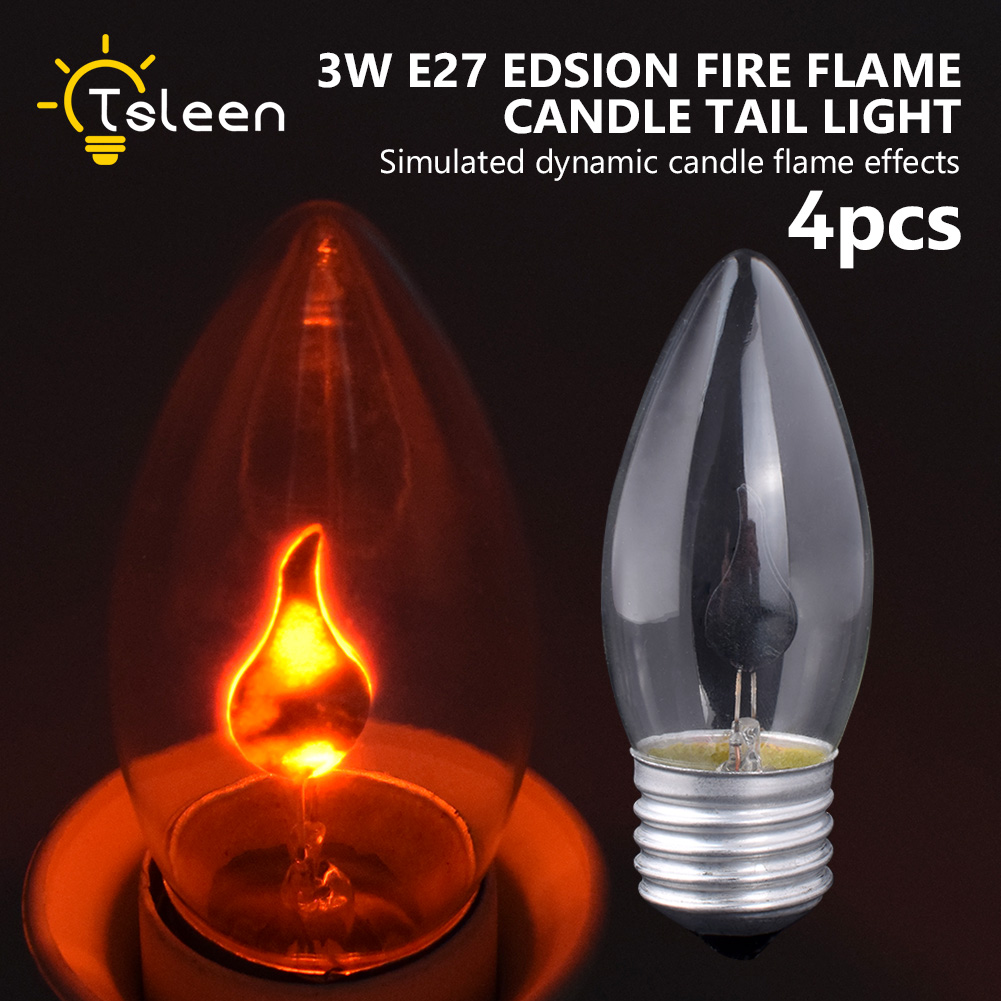 Wholesale 4PCS E14 E27 Edison Light Bulb Lamp LED Energy Saving Light Bulbs Vintage Fire Flame Candle Tail Chandelier Decor 220V