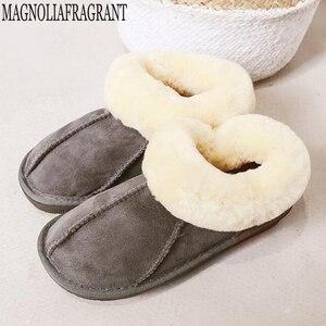 Image 1 - Тапочки из овечьей кожи; Женская меховая домашняя пушистая зимняя плюшевая меховая теплая обувь на плоской подошве; Милая женская обувь; Pantufas; Домашняя женская обувь; c324